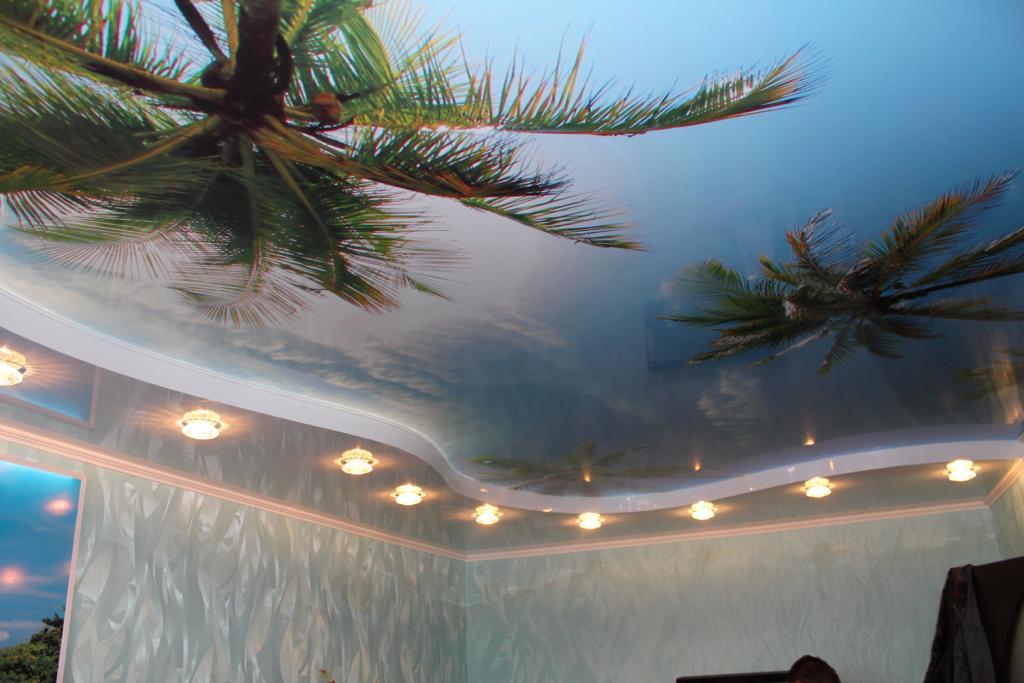 Экологический, двухуровневый потолок с 3d печатью в комнате, с подсветкой