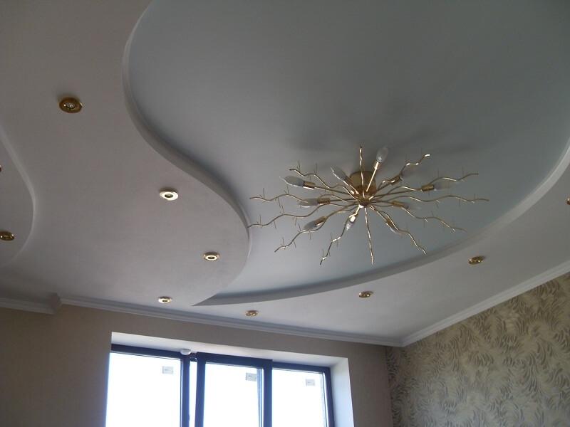 Многоуровневый экологический потолок со встроенным освещением мощностью 15 Вт, высота потолка 2,4 м