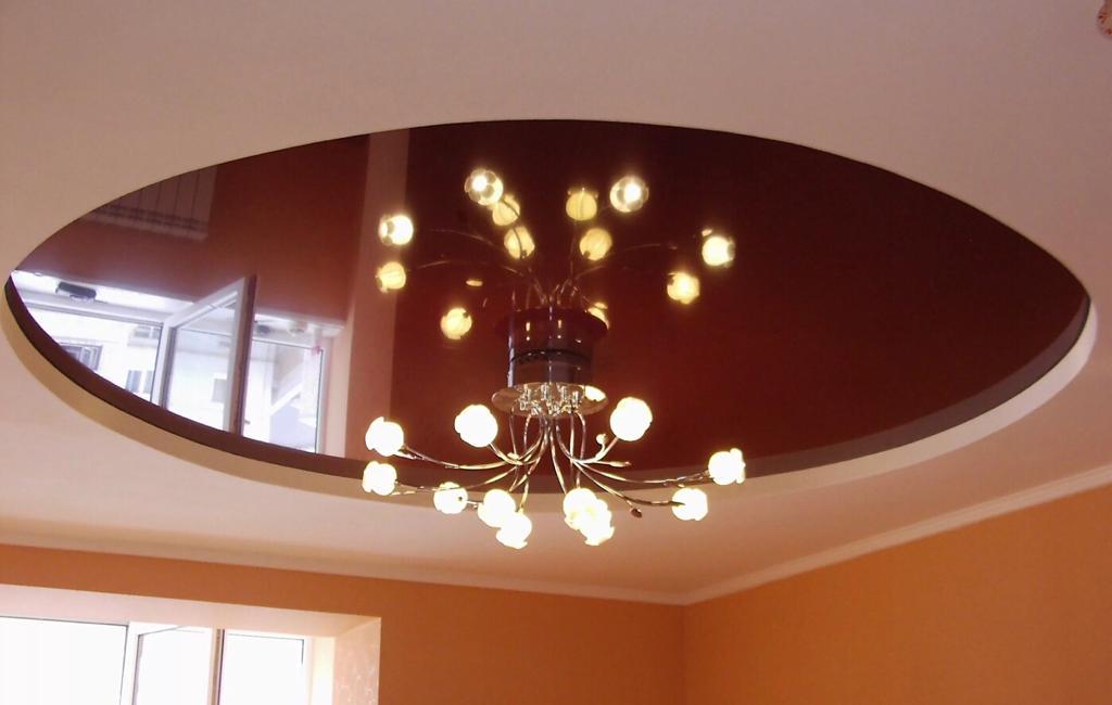 Криволинейный, круглый потолок с люстрой, без точечный светильников, площадь потолка 12кв.м