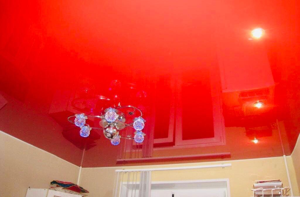 Одноуровневый стильный потолок для кухни площадью 10 кв.м, высота потолка 2,2м