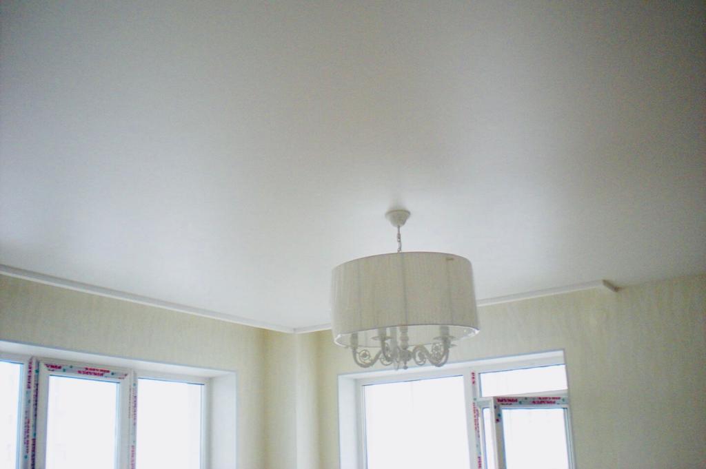Одноуровневый потолок с люстрой и плинтусами, площадь комнаты 17 кв.м