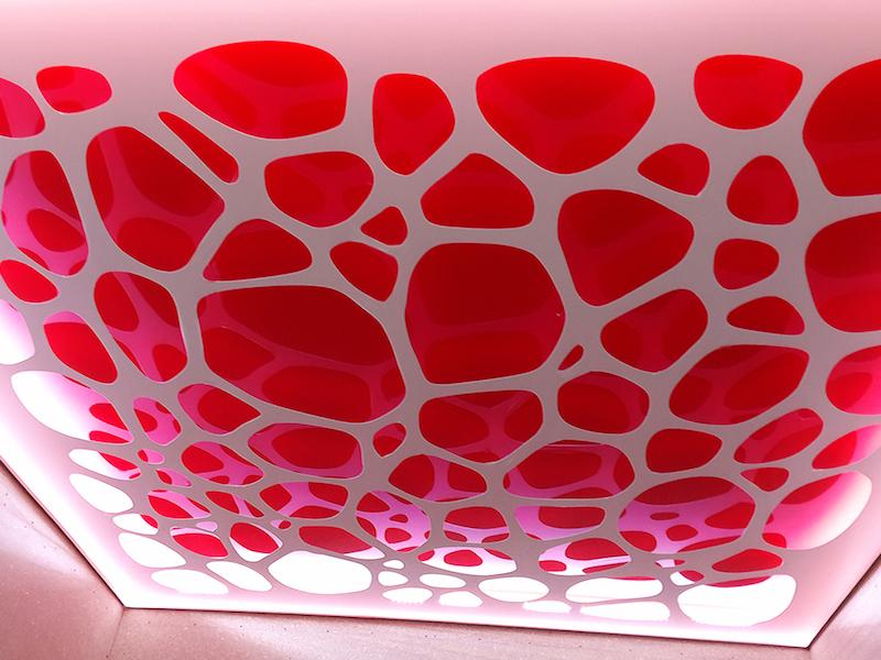 Экологический стильный потолок с подсветкой, площадь потолка 12 кв.м