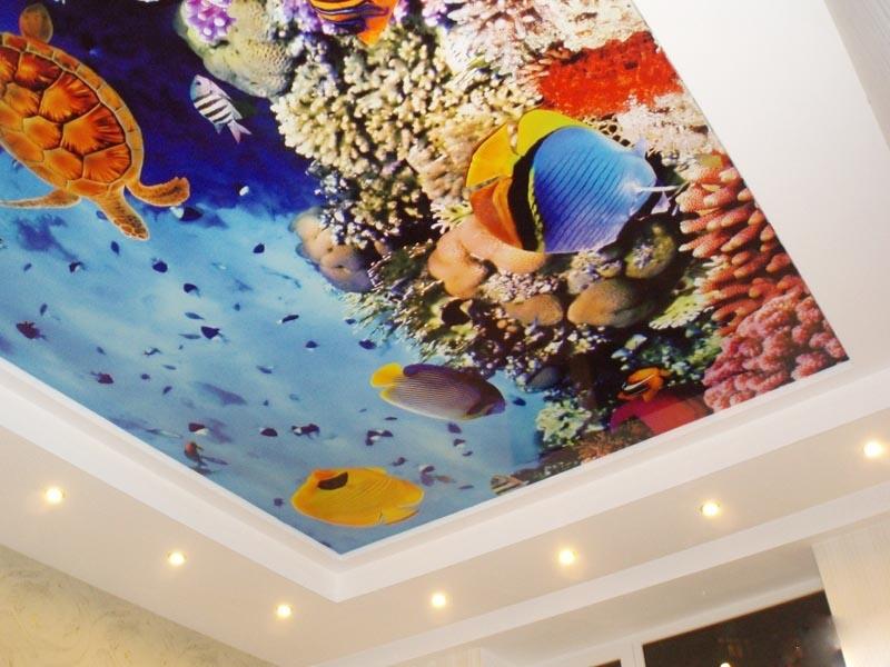 Потолок бесшовный стильный многоуровневый в помещении площадью 12 кв.м