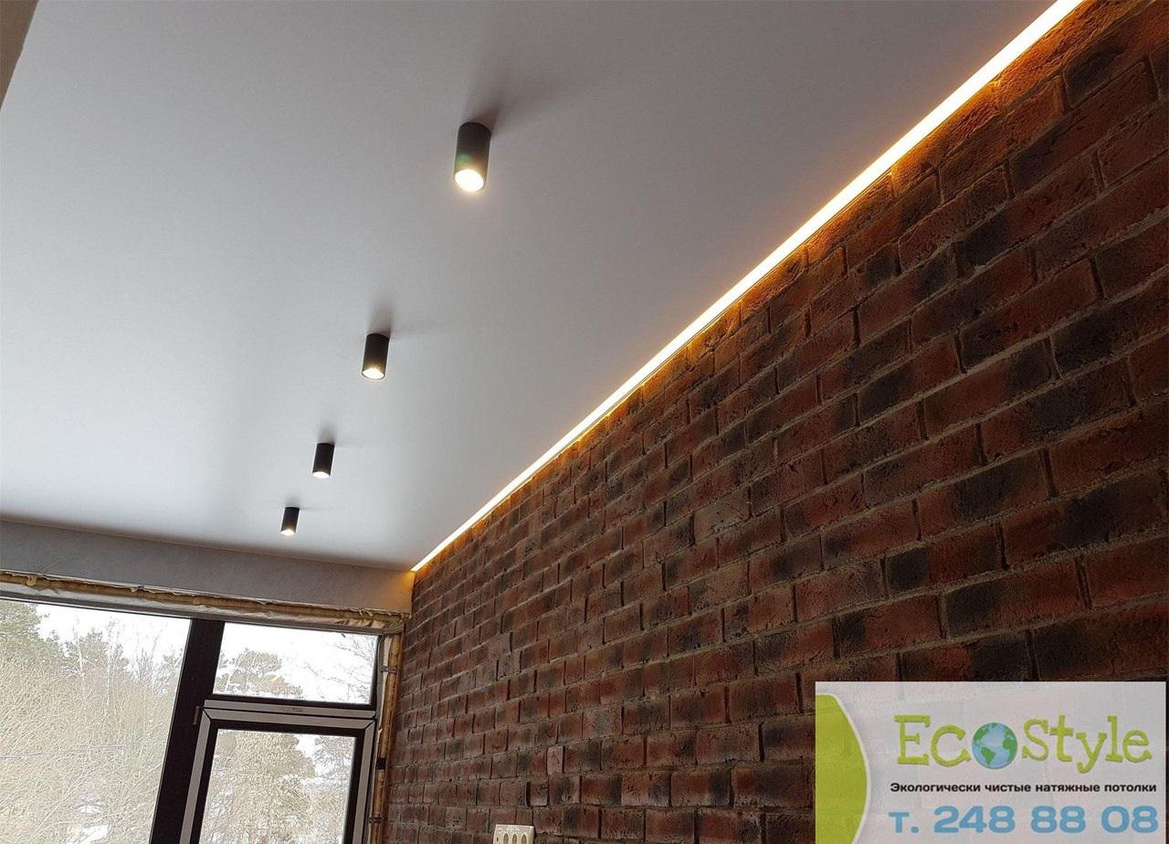 Одноуровневый бесшовный, экологический потолок, площадь потолка 8 кв.м