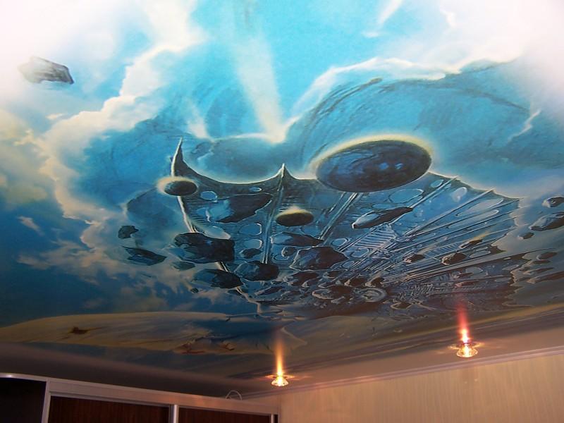 Бесшовный стильный потолок с подсветкой. одноуровневый экологический