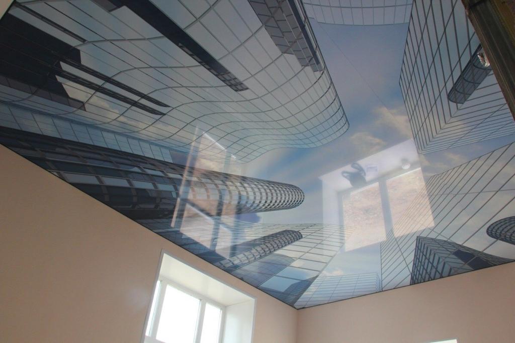 Дизайнерский 3D потолок, высота потолка 2.4 м, площадь комнаты 10 кв.м