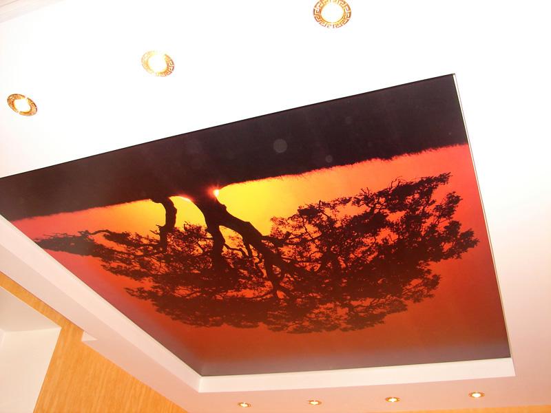 Стильный  дизайнерский пвх потолок с подсветкой, площадь комнаты 10 кв.м.