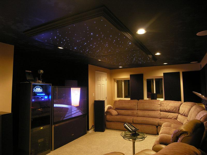 """Дизайнерский потолок """"Звездное небо"""" с точечными светильниками мощностью 10Вт"""