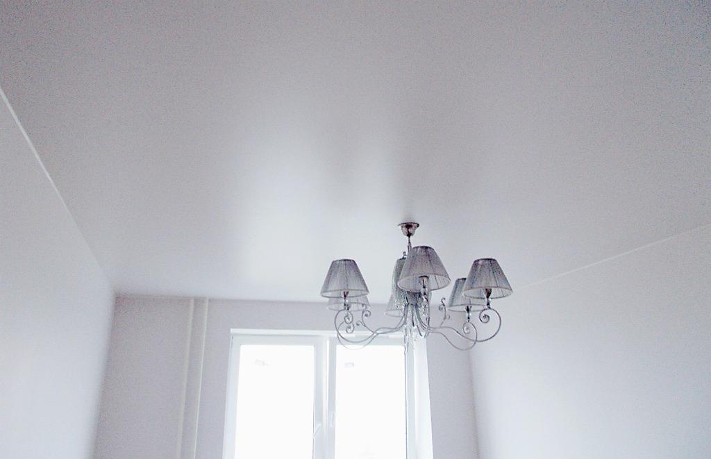 Экологический одноуровневый потолок с люстрой, площадь потолка 12 кв.м